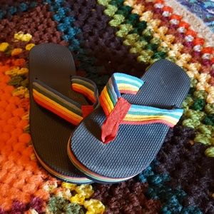 446039c0ed9b Vintage Shoes - RAD Retro Rainbow Flip Flops!